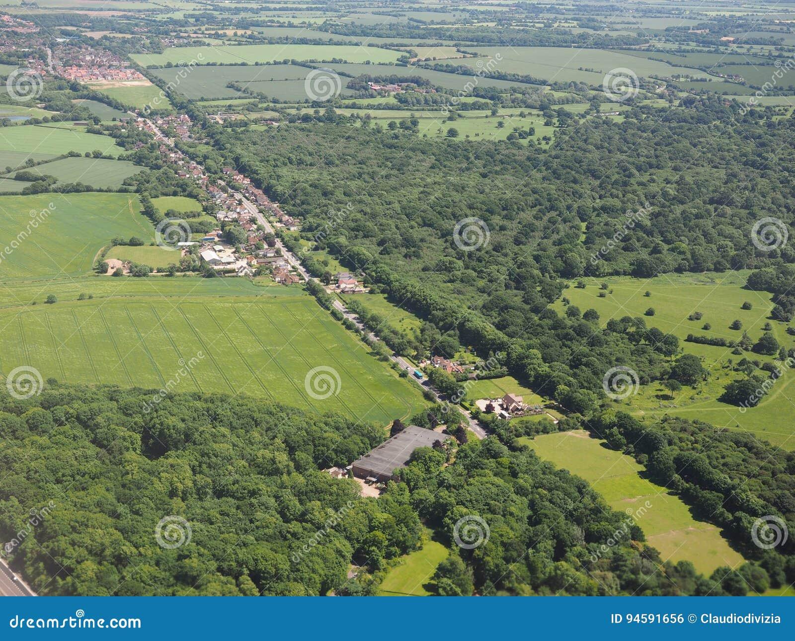 Flyg- sikt av den Takeley och Hatfield skogen