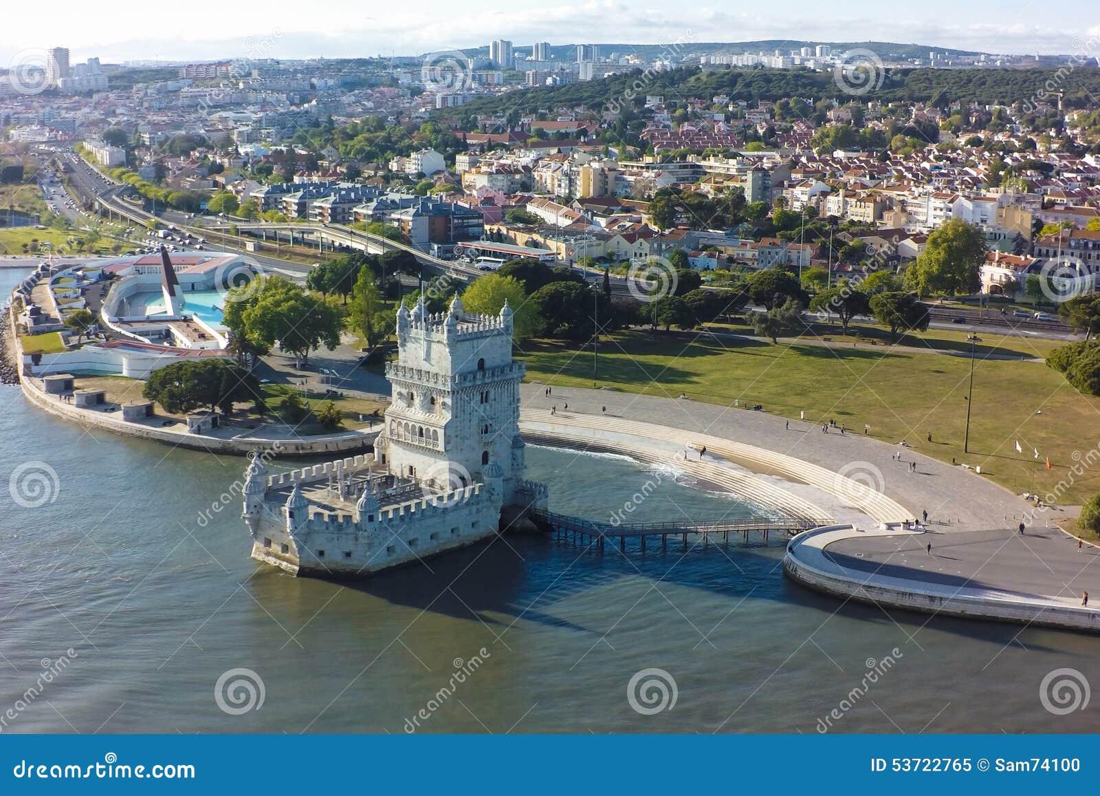 Flyg- sikt av det Belem tornet - Torre de Belem i Lissabon, Portugal
