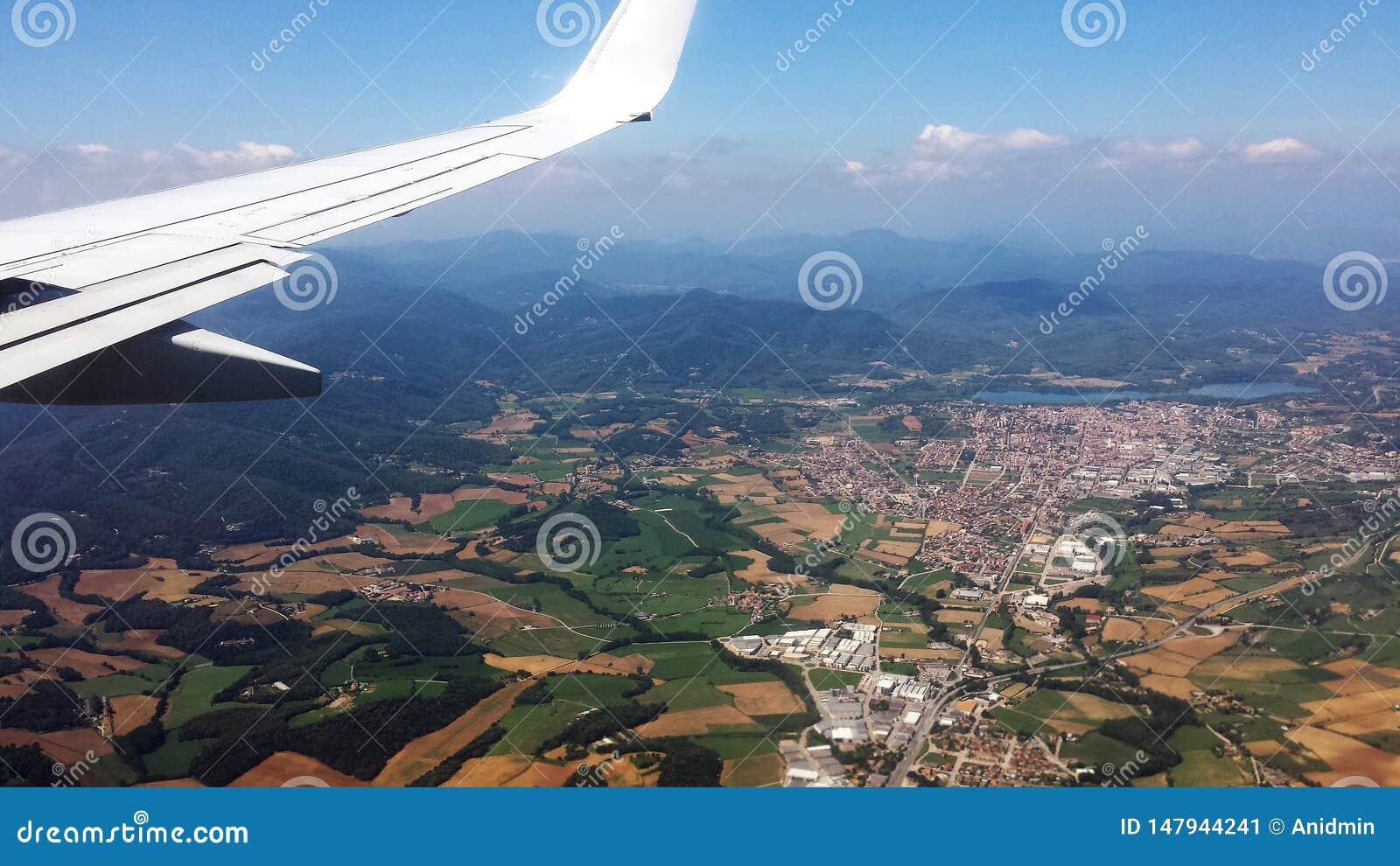 Flyg- sikt av det europeiska landskapet