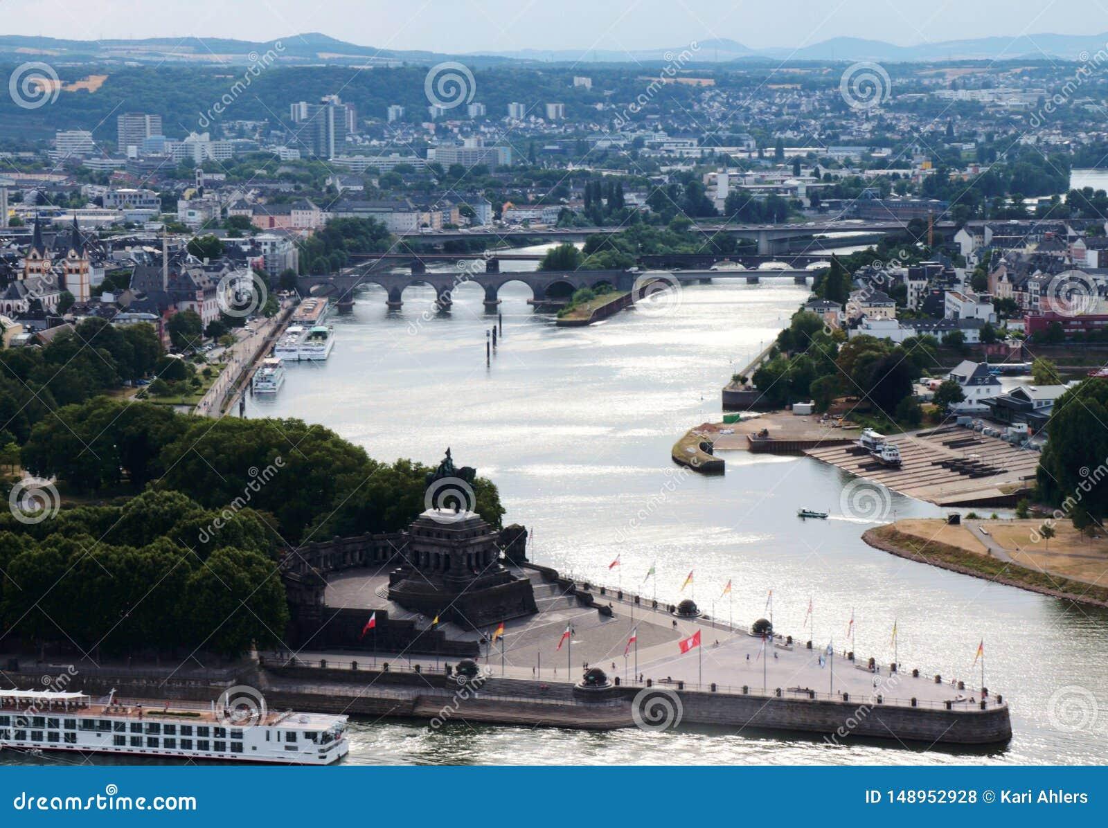 Flyg- sikt av Koblenz
