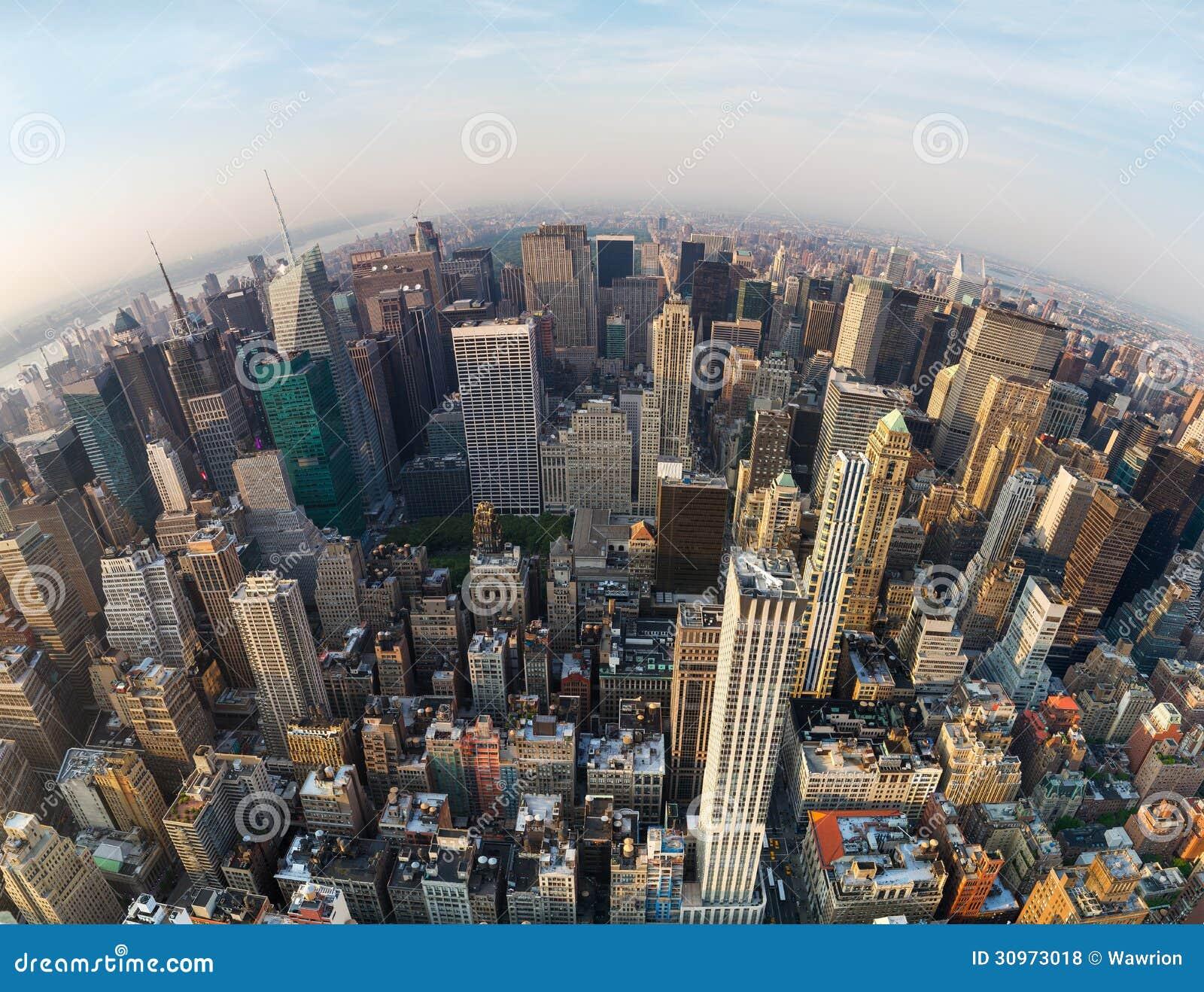 Flyg- sikt av New York City, norr riktning
