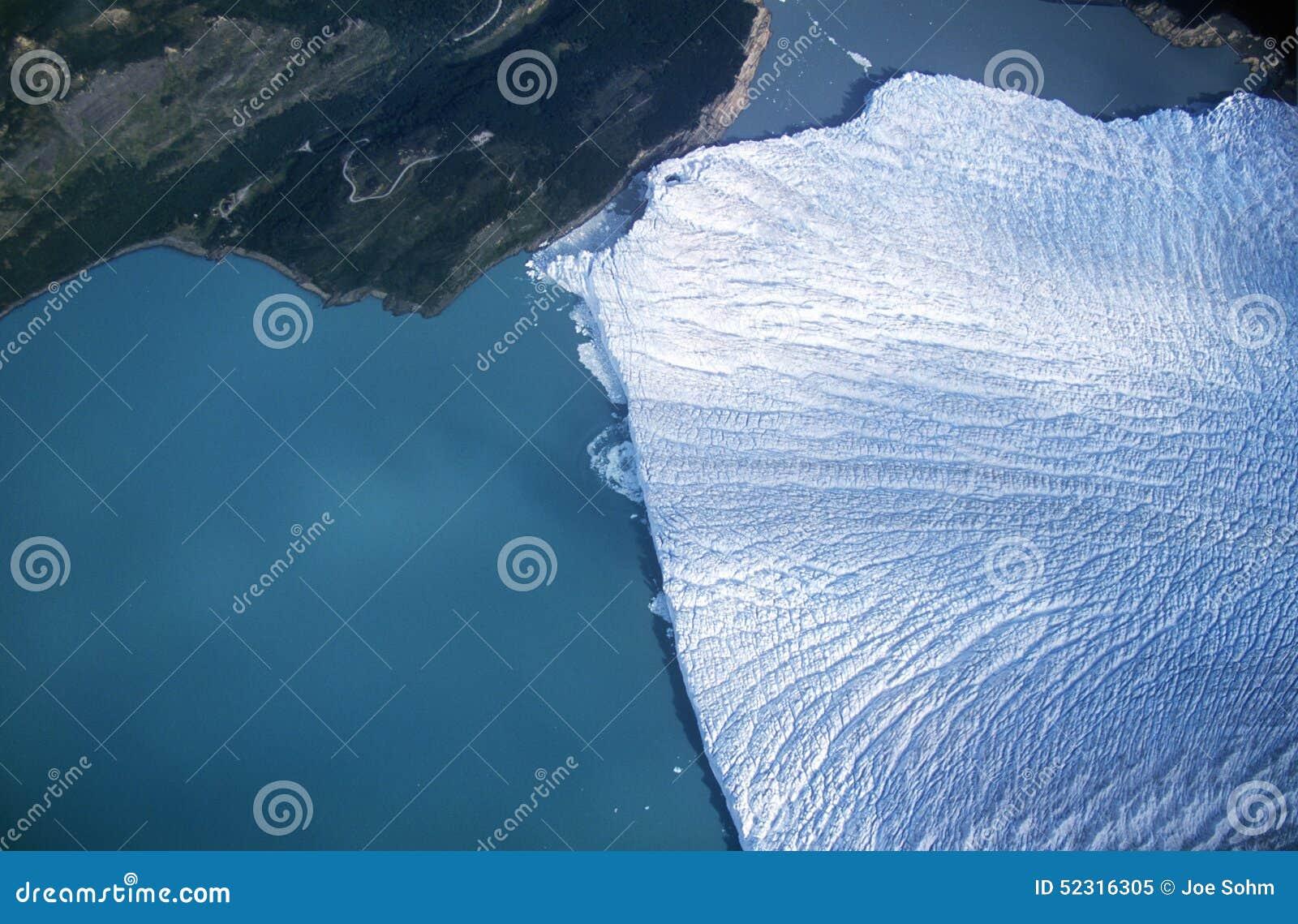 Flyg- sikt av Perito Moreno Glacier nära El Calafate, Patagonia, Argentina