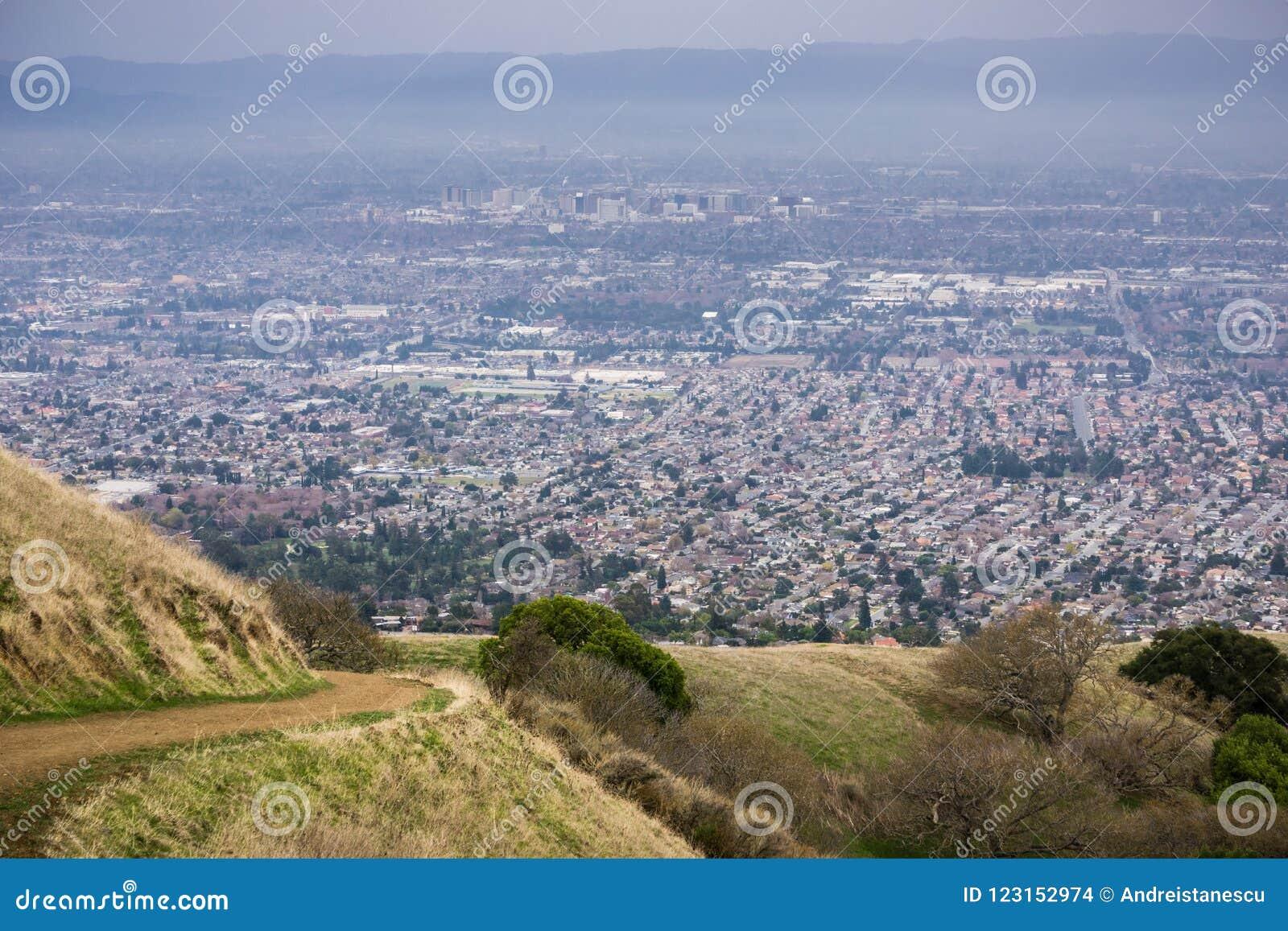 Flyg- sikt av San Jose, Kalifornien
