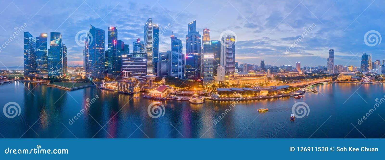 Flyg- sikt för Singapore affärsområde
