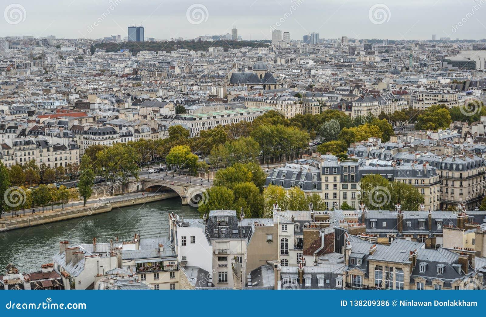 Flyg- sikt på floden Seine med broar