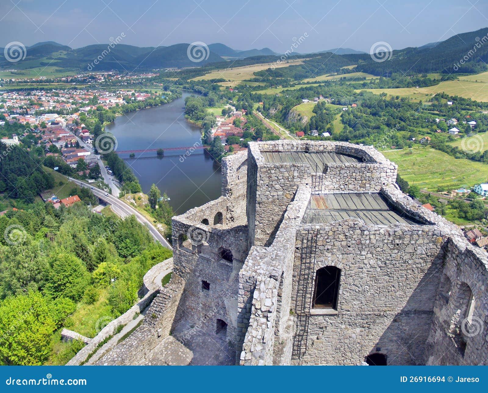Flyg- sommarsikt från torn av det Strecno slottet