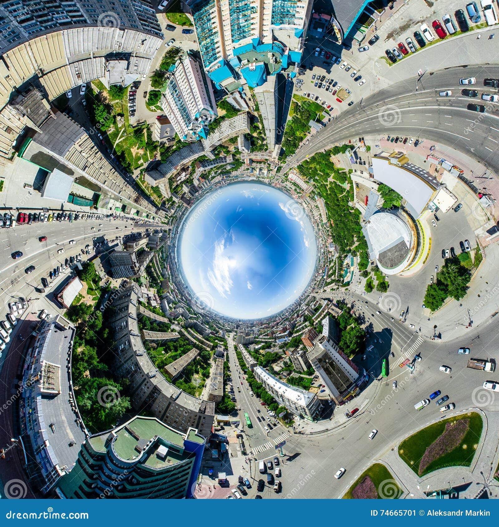 Flyg- stadssikt stads- liggande Helikopterskott panorama- bild