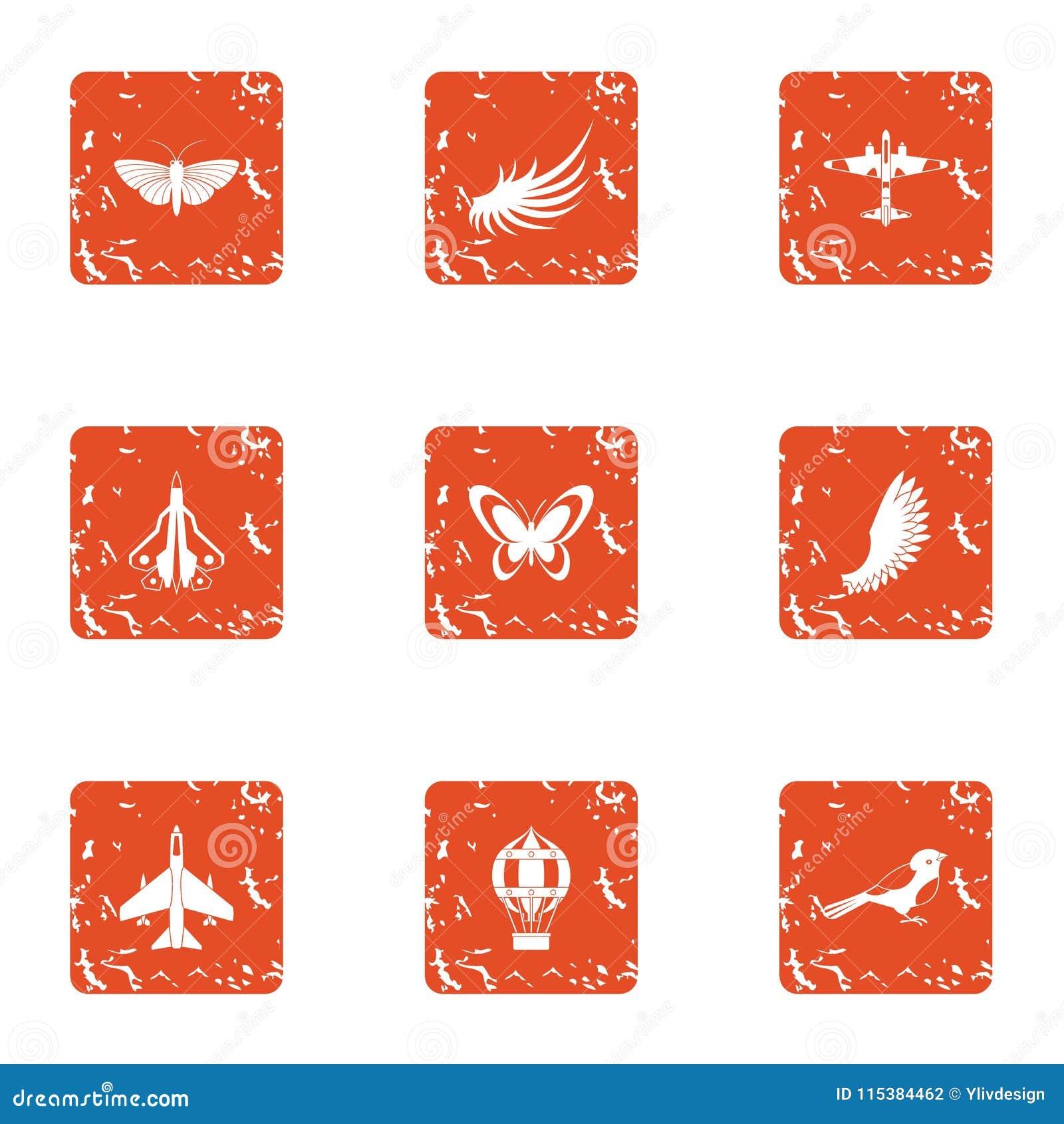 Flyga objektsymbolsuppsättningen, grungestil