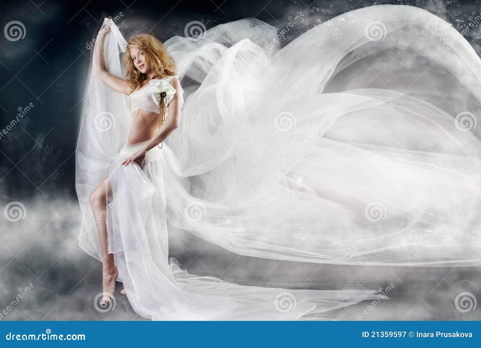 Flyga vit kvinna för tyg