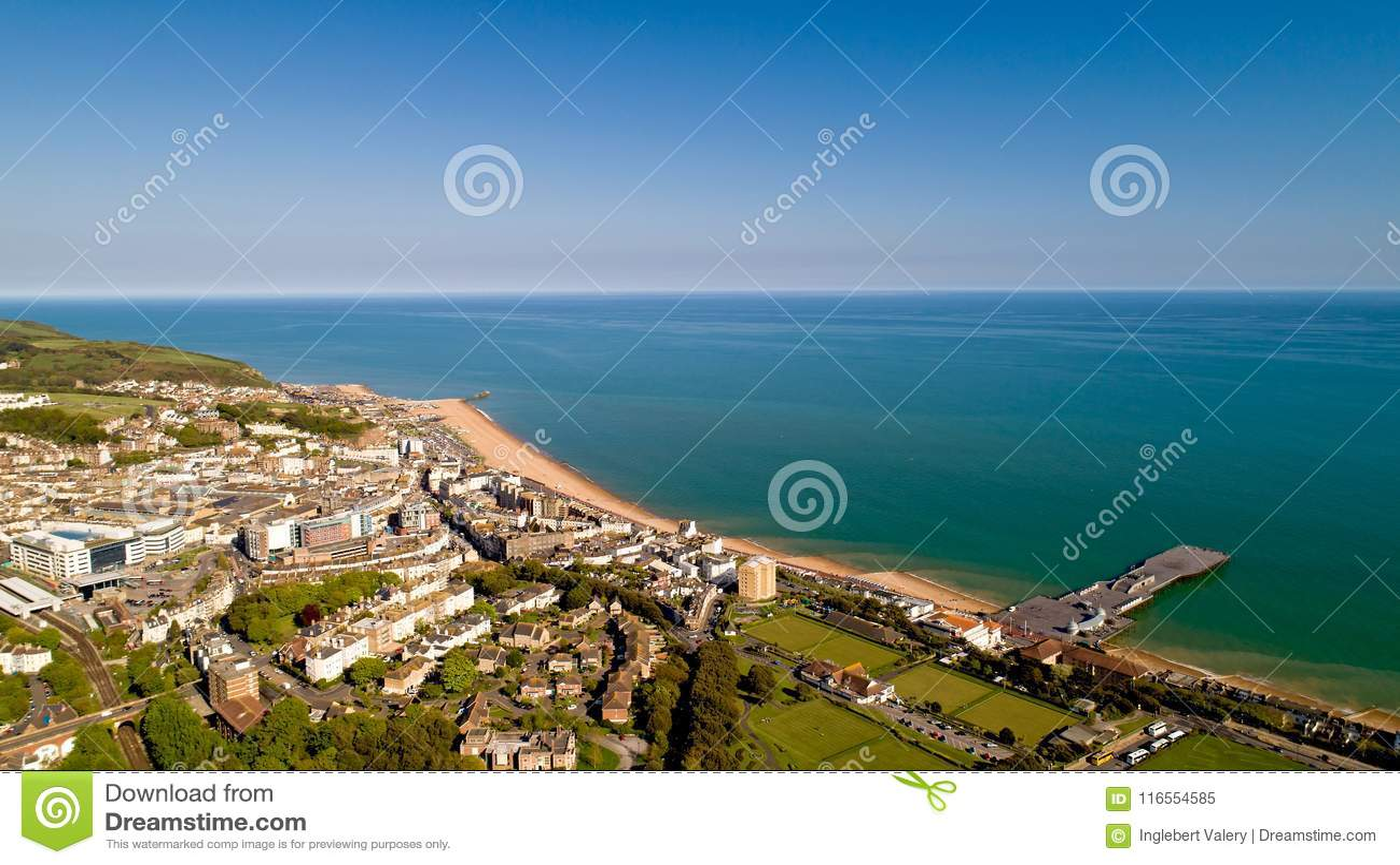 Flygbild av Hastings, östliga Sussex, England