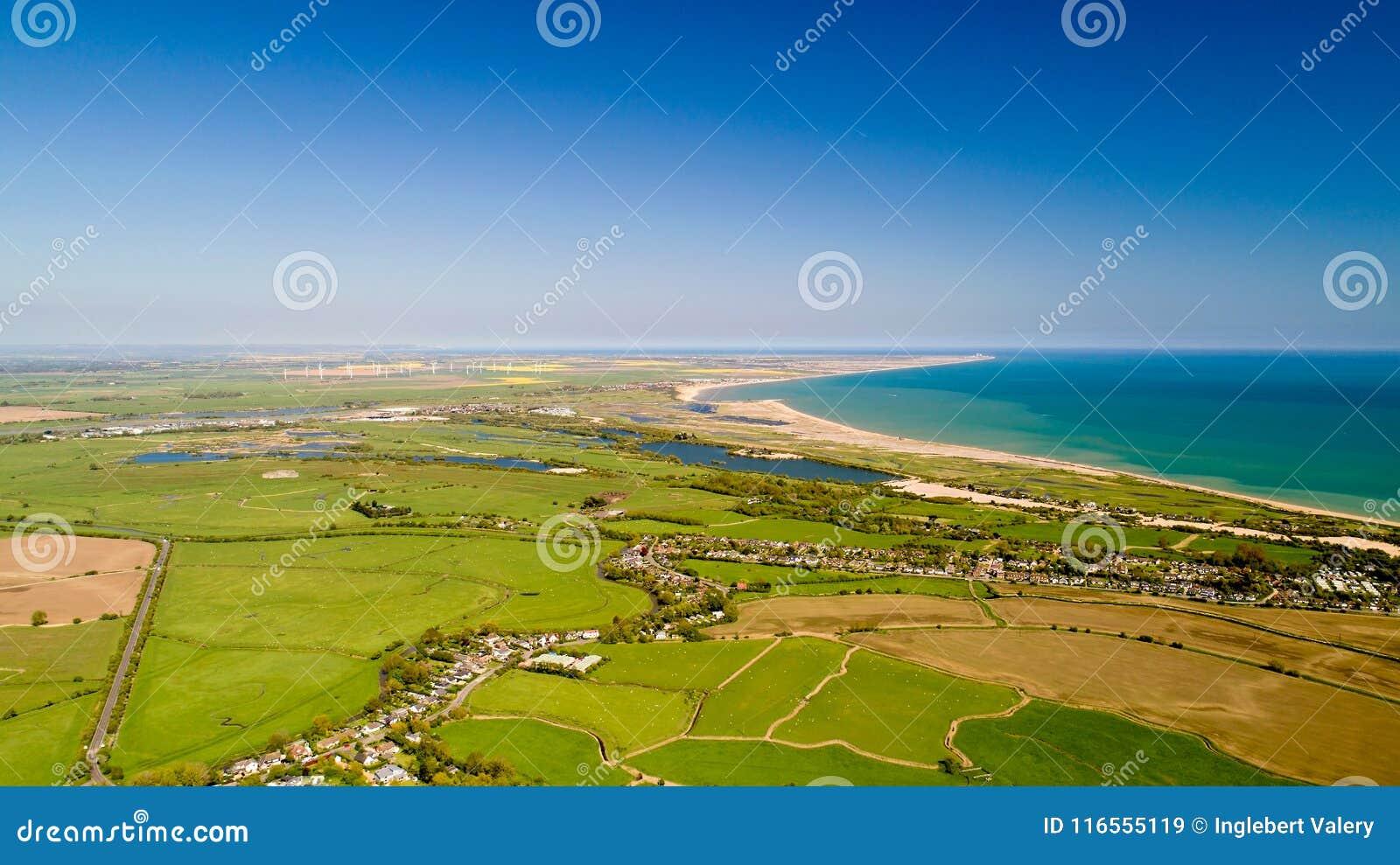 Flygfotografering av camber- och råghamnen i östliga Sussex