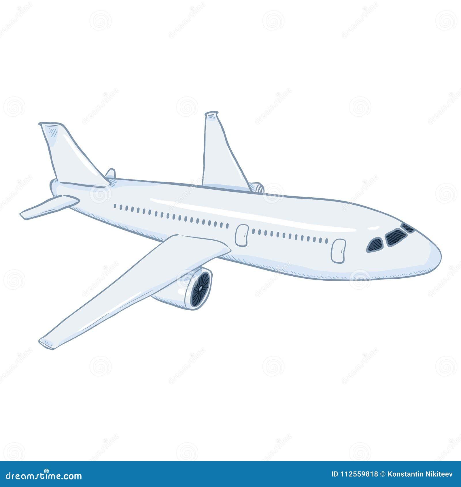 Flygplan för passagerare för vektortecknad film vitt Kommersiellt flygflygplan