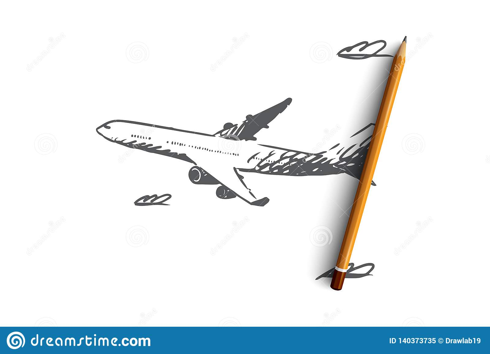 Flygplan himmel, flyg, transport, turbegrepp Hand dragen isolerad vektor