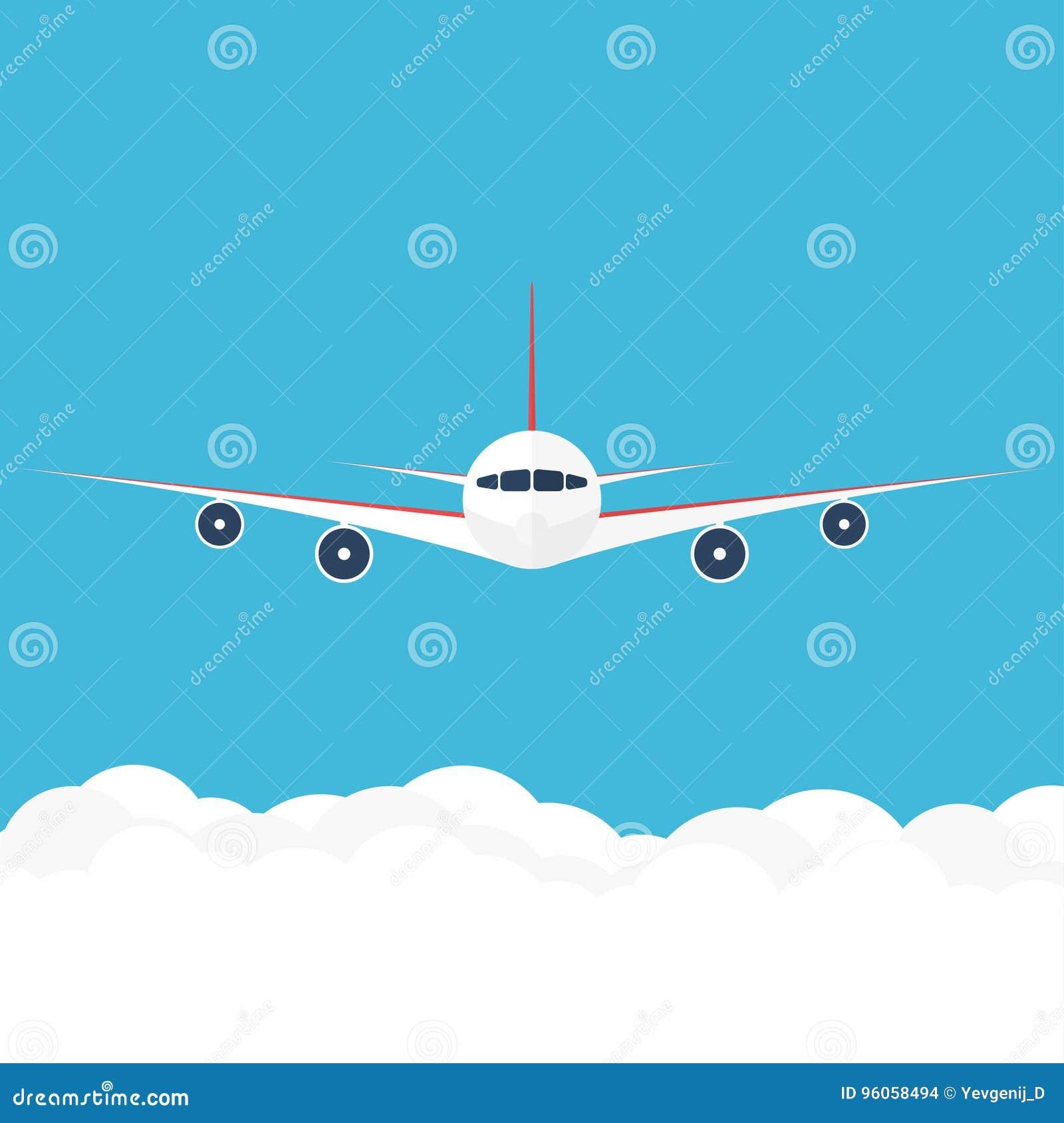 Flygplan i skyen Främst sikt för kommersiellt flygplan