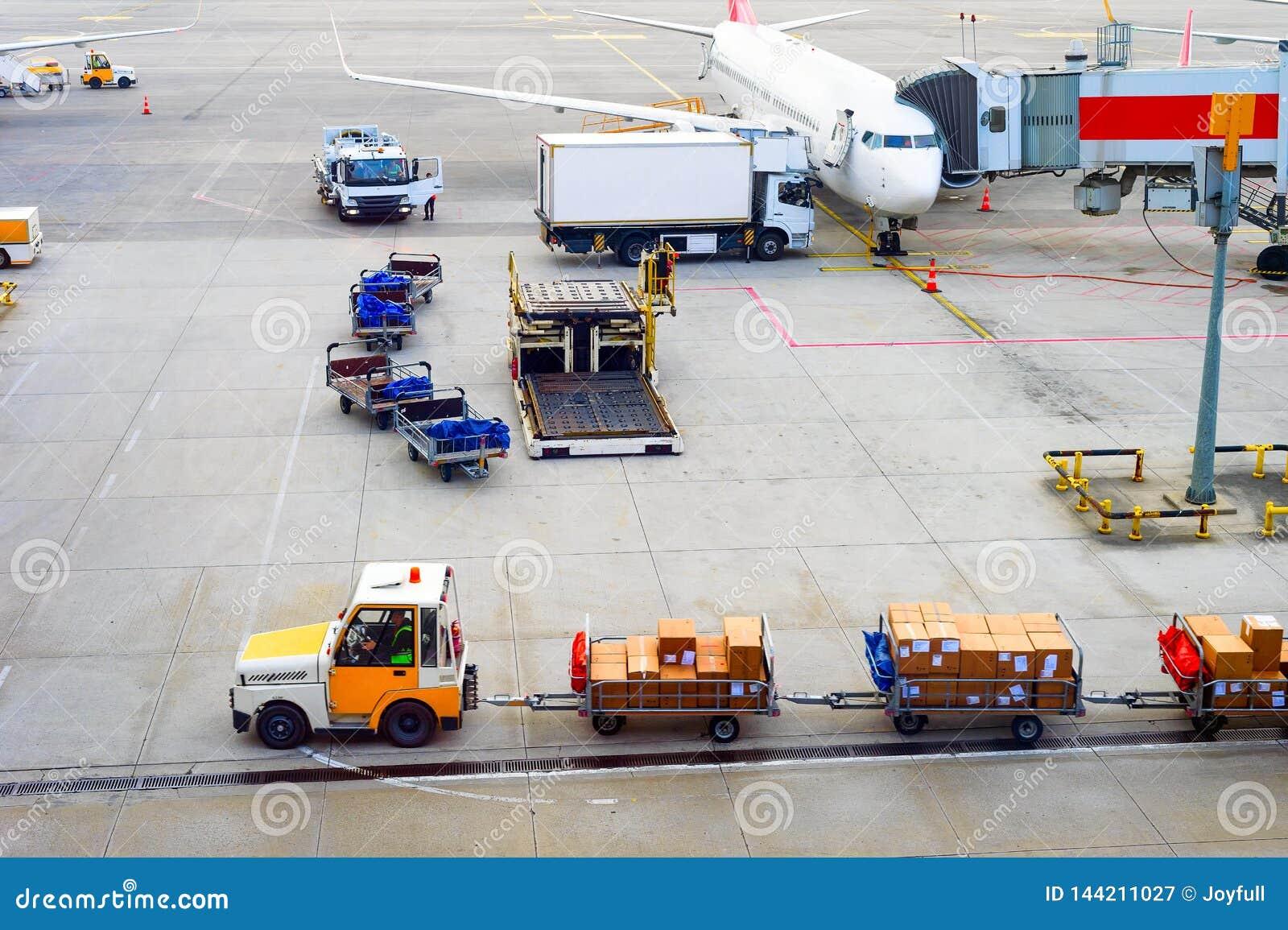 Flygplan jordlotter, bagagebärare, flygplats