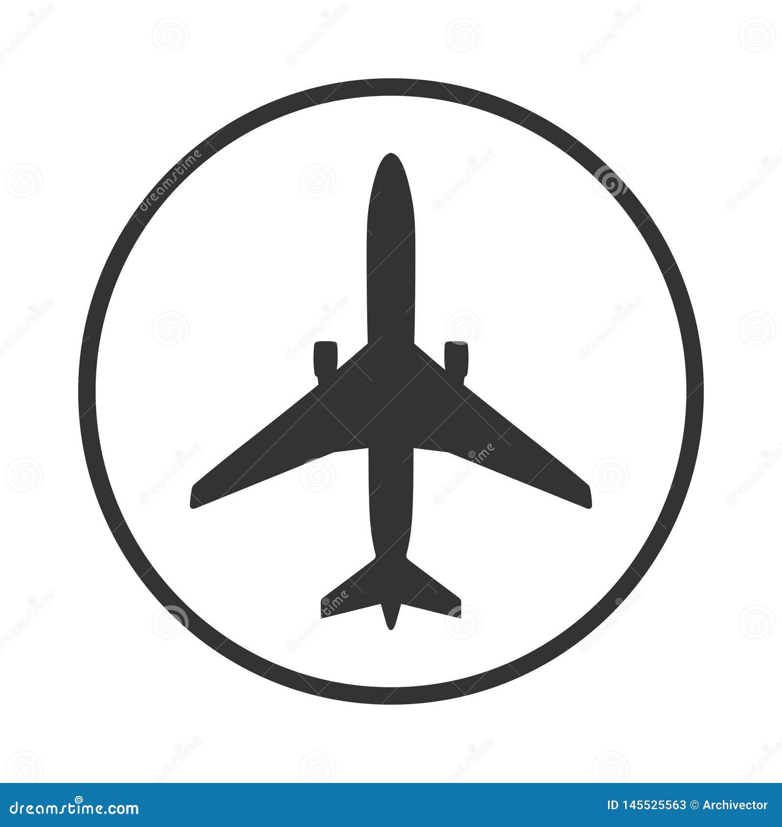 Flygplanet undertecknar in cirkeln