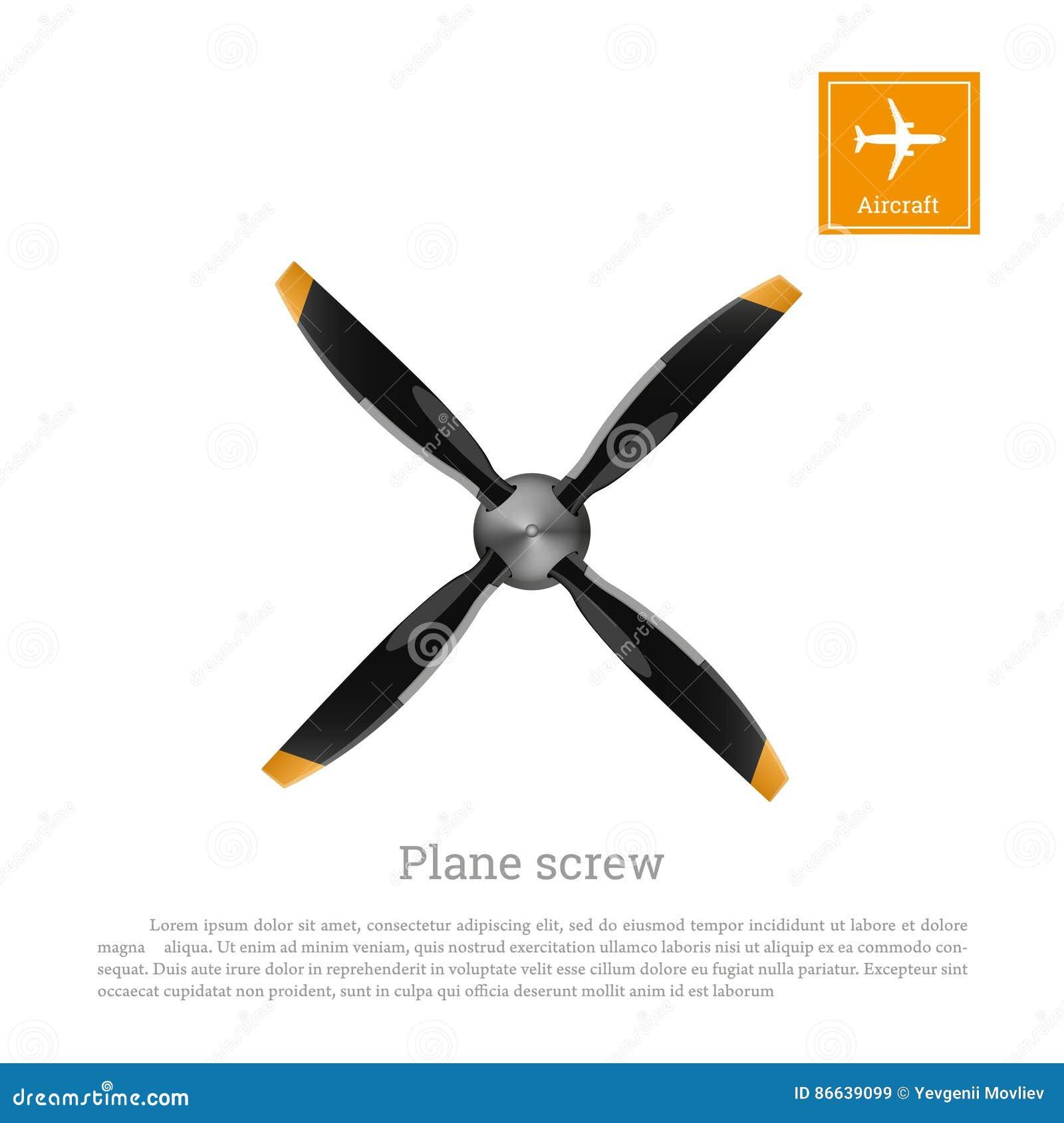 Flygplanskruv i plan stil Flygplanpropeller på vit bakgrund Airscrew med fyra blad