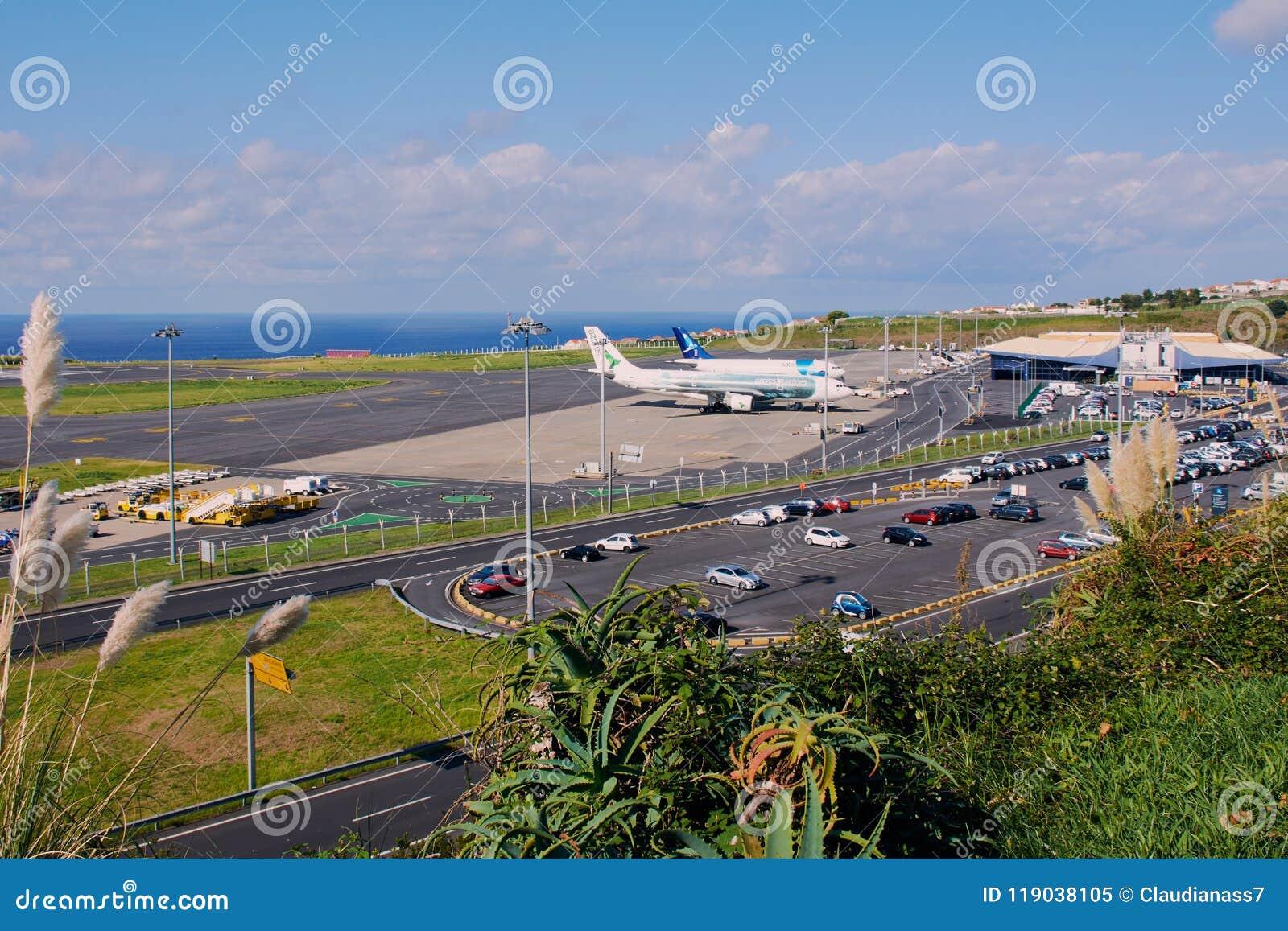 Flygplats i Ponta Delgada på Sao Miguel, Azores