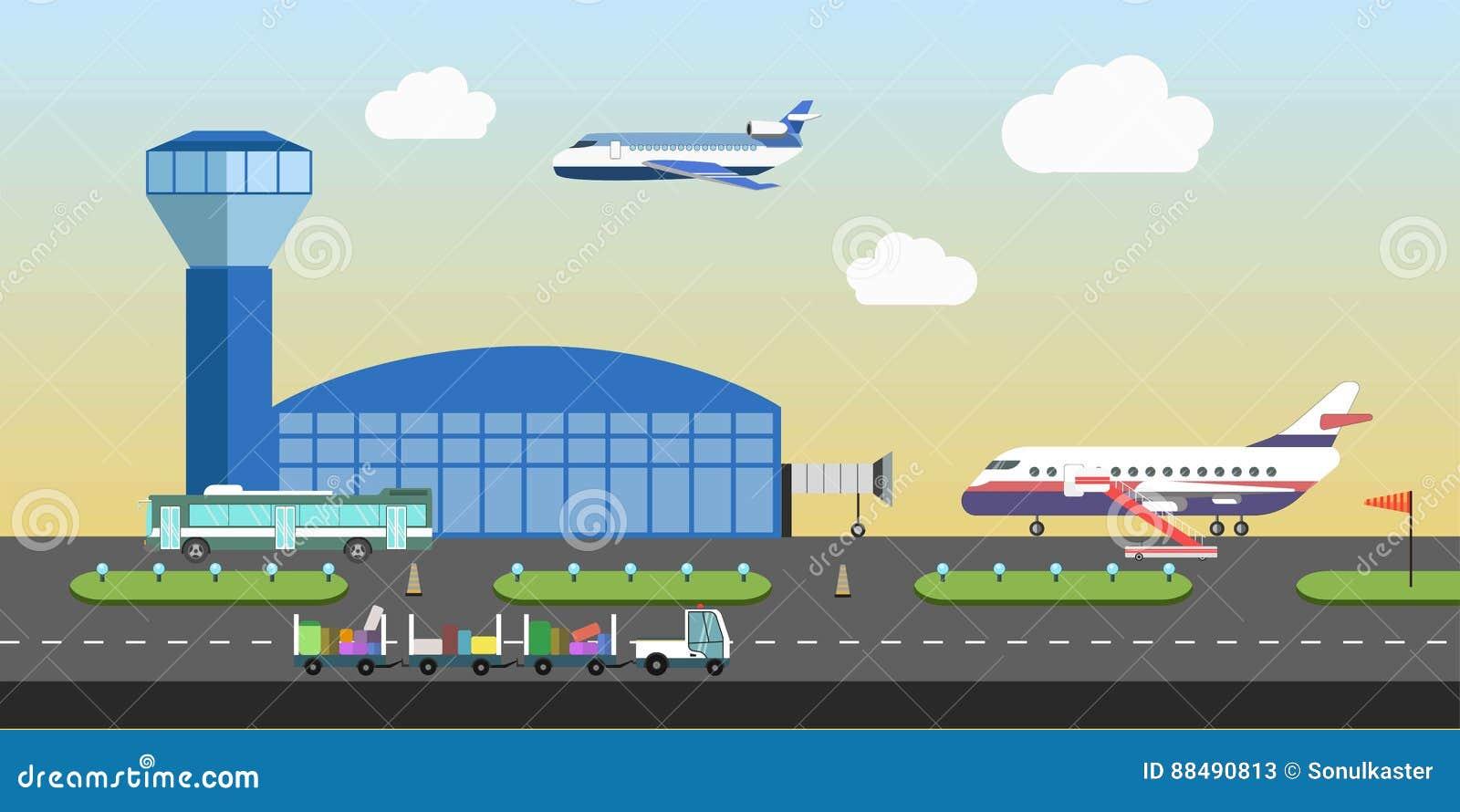 Flygplatsbyggnad och lägenheten för vektor för nivålandningsbanaområde planlägger