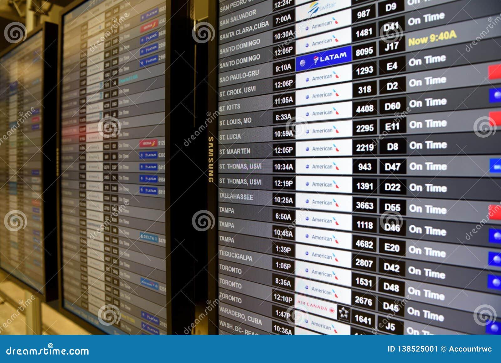 Flygplatsflygankomst och information om avvikelser i Miami