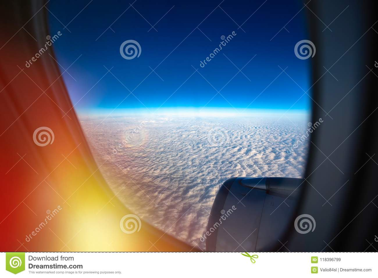 Flying Above The Clouds. Aerial View From The Airplane ...