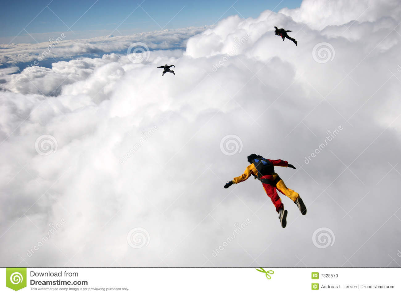Flying above cumulus clouds stock photo image 7328570