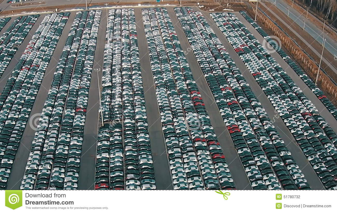 Flying Above Storage Parking Lot Of New Unsold Cars Stock Footage ...