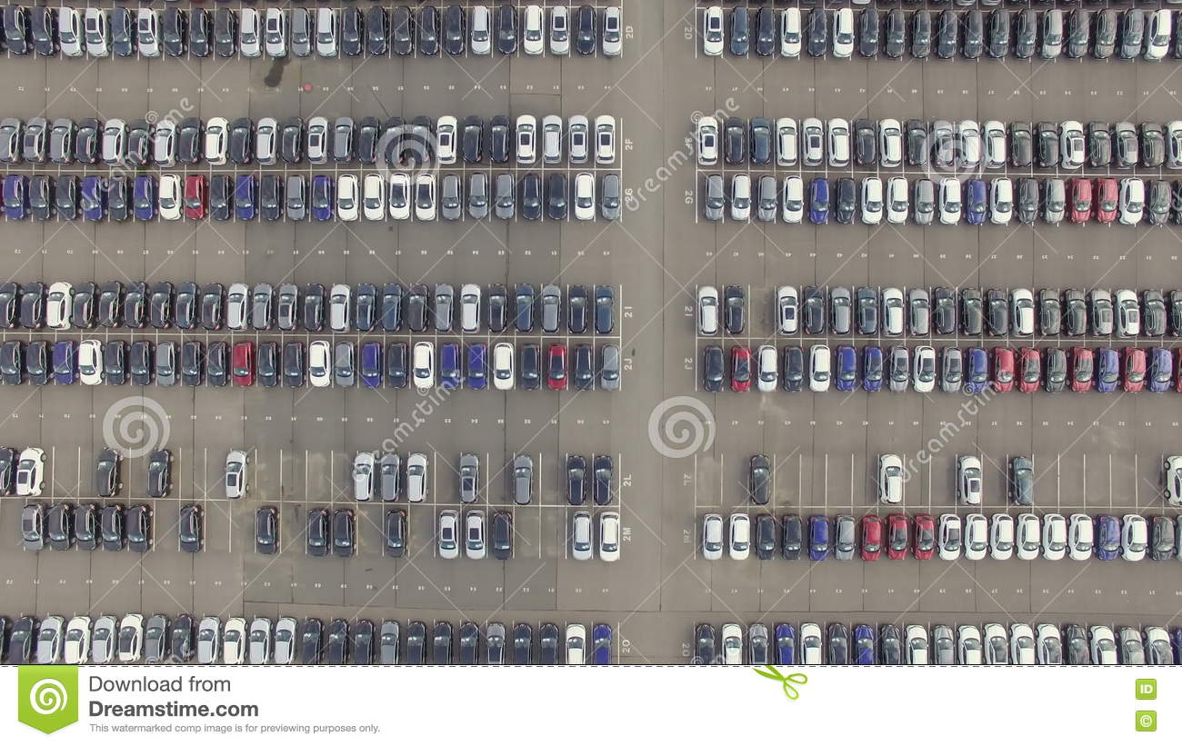 Flying Above Storage Parking Lot Of New Unsold Cars, Aerial View ...