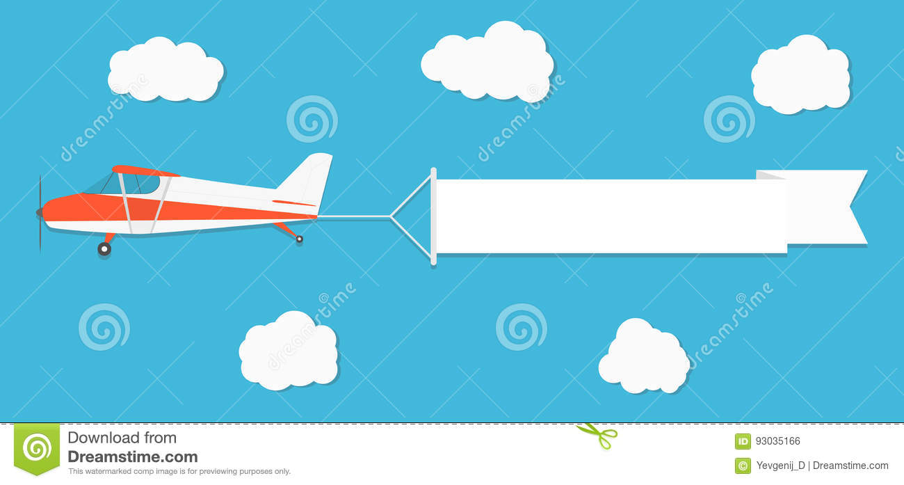 flying advertising banner plane with horizontal banner on blue