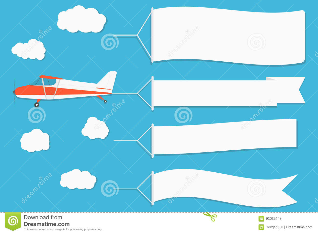 flying advertising banner plane with horizontal banners on blue