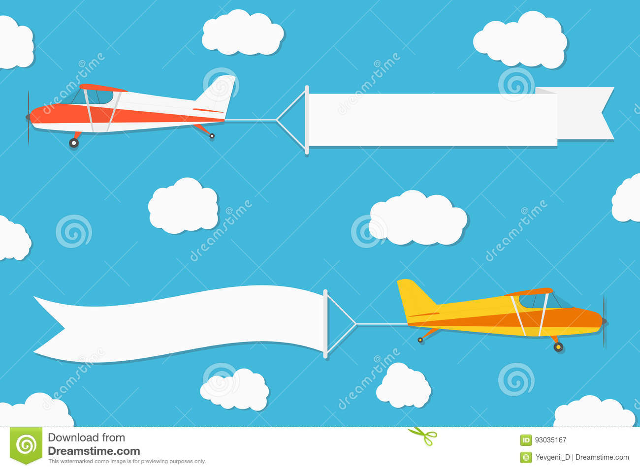 flying advertising banner planes with horizontal banners on blue