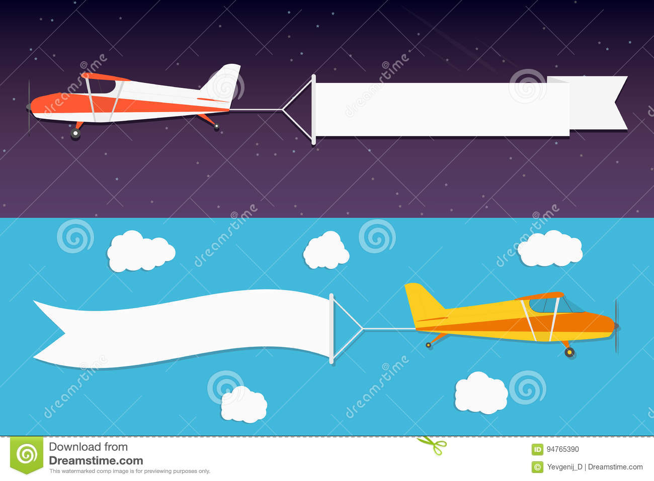 flying advertising banner planes with horizontal banners in night