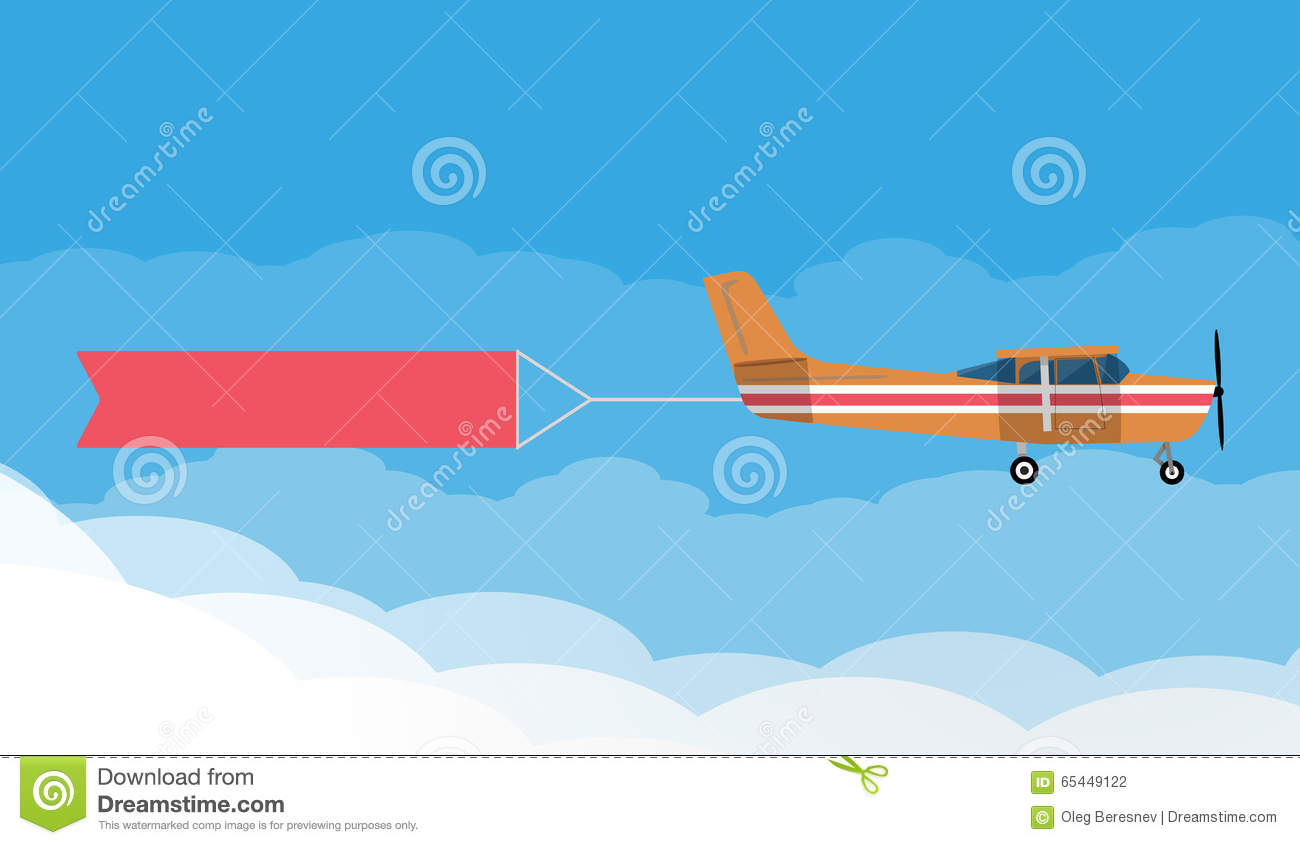 flying advertising banners pulledlight plane stock vector