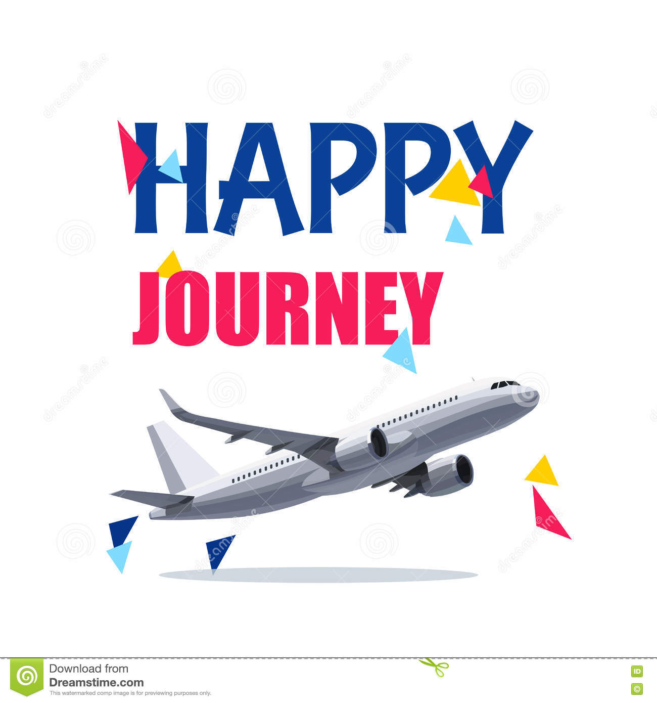 Flying Air Plane With Happy Journey Header Wishes For A