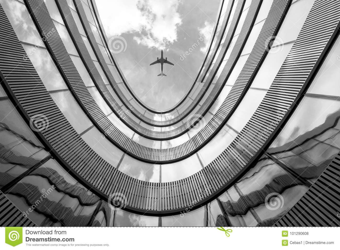 Flying airplane and modern architecture building