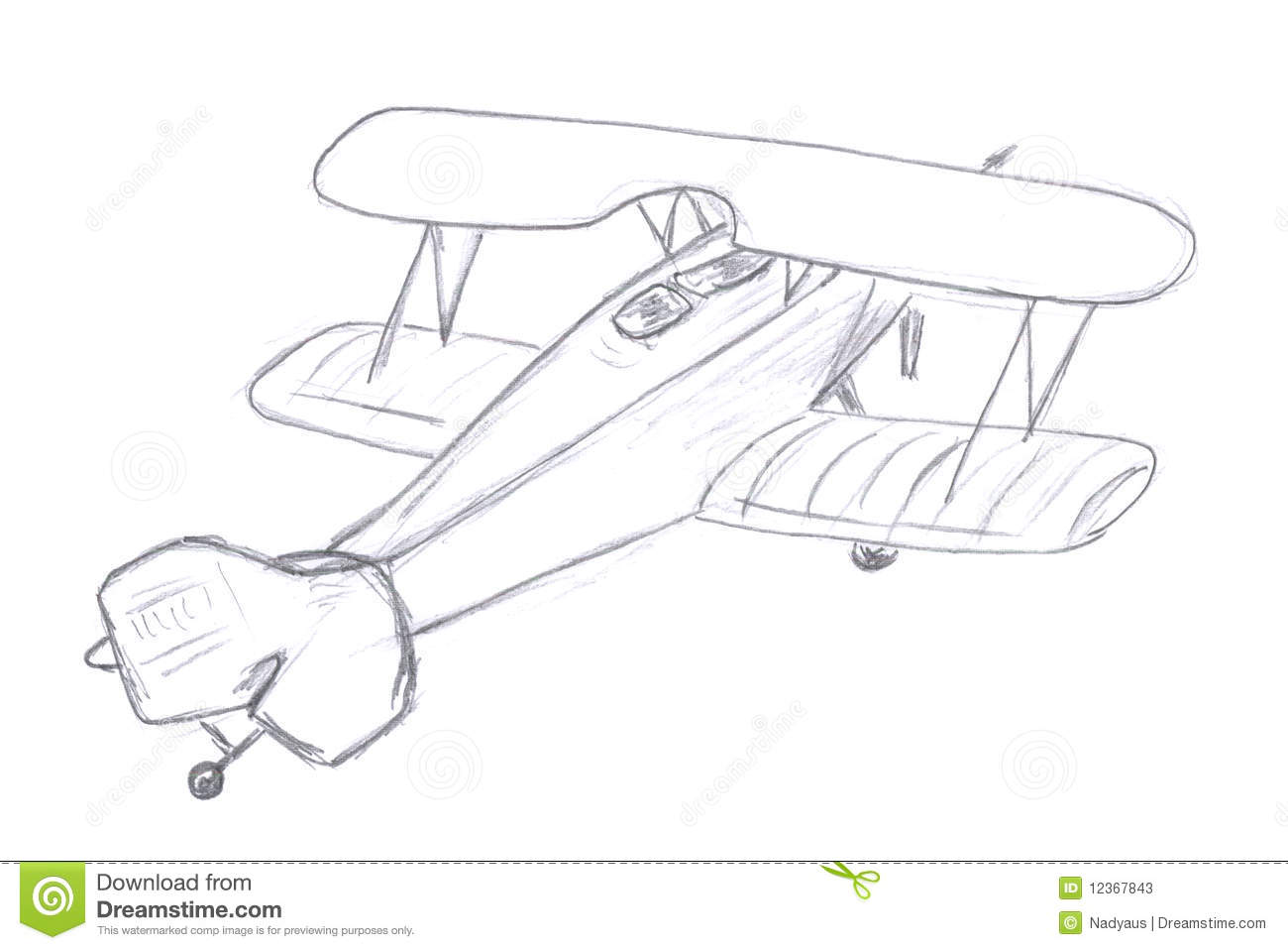 Flying Airplane Sketch Stock Illustration Illustration Of