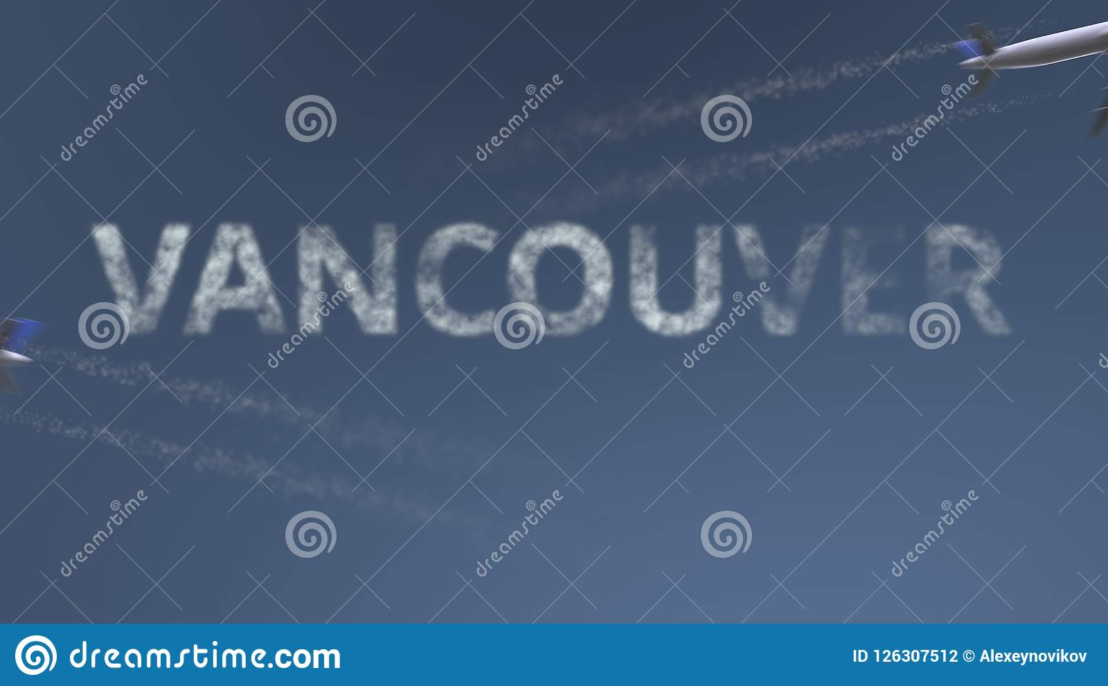 Flying Airplanes Trails And Vancouver Caption. Traveling To Canada ...