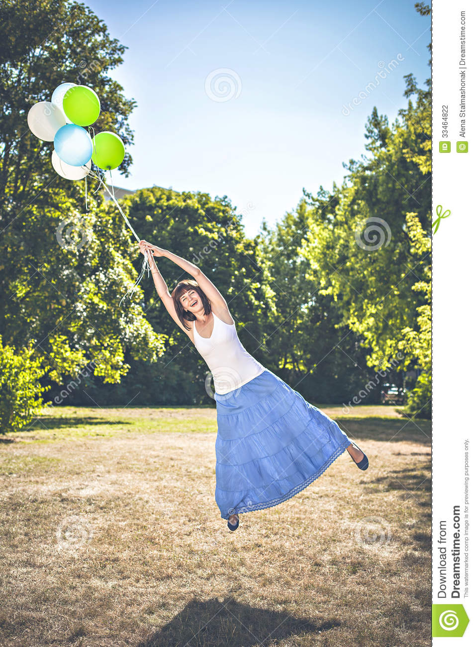 Flying Away With Balloons Stock Photo. Image Of Enjoyment ...