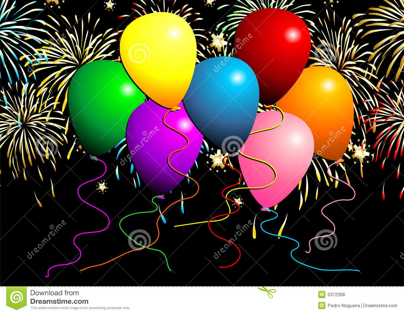 Flying Balloons With Fireworks Royalty Free Stock Photos - Image ...