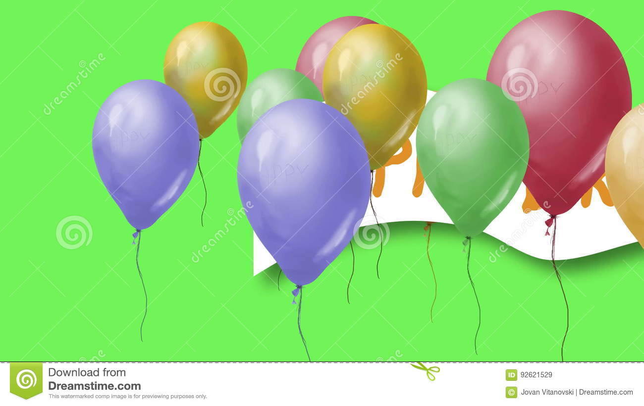 Flying Balloons And Word Happy Birthday On Green Screen Stock Video