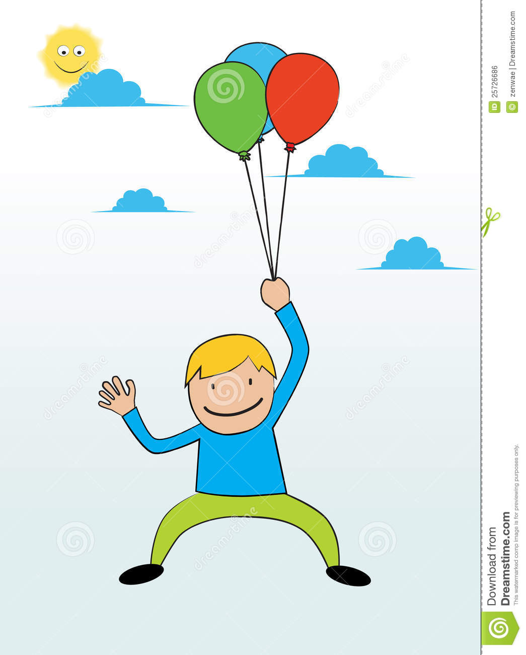 Flying With Baloons Royalty Free Stock Image - Image: 25726686