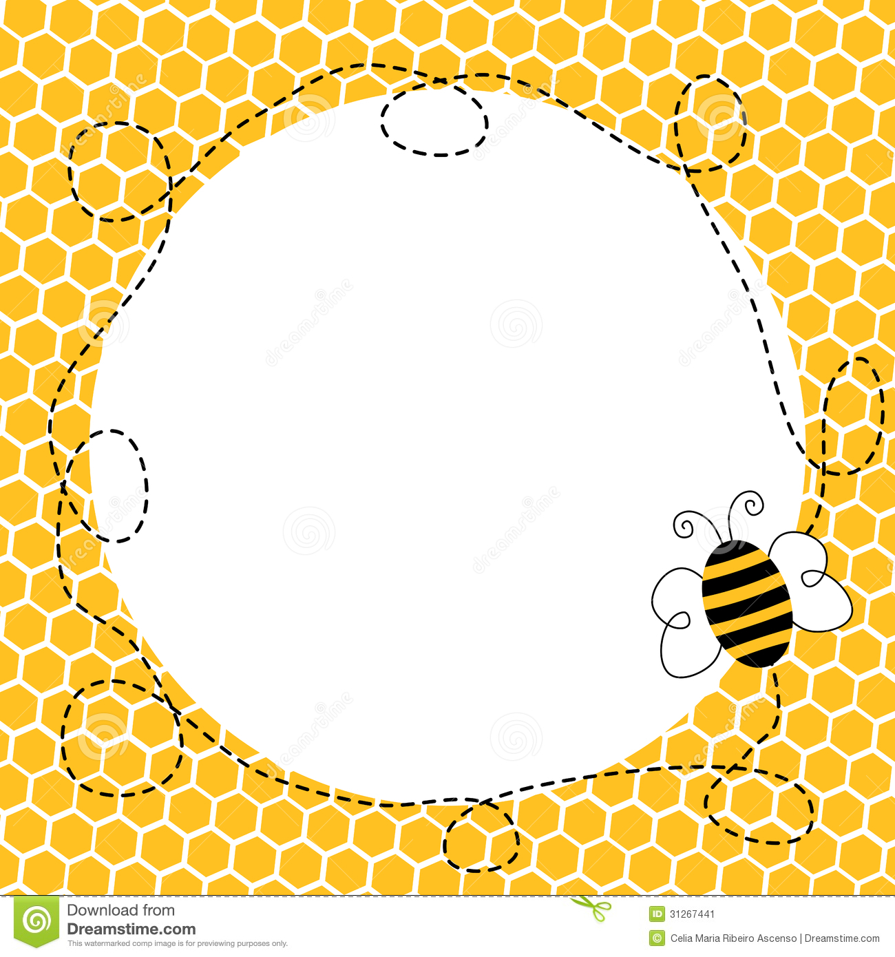 Flying Bee In A Honeycomb Frame Stock Image - Image: 31267441