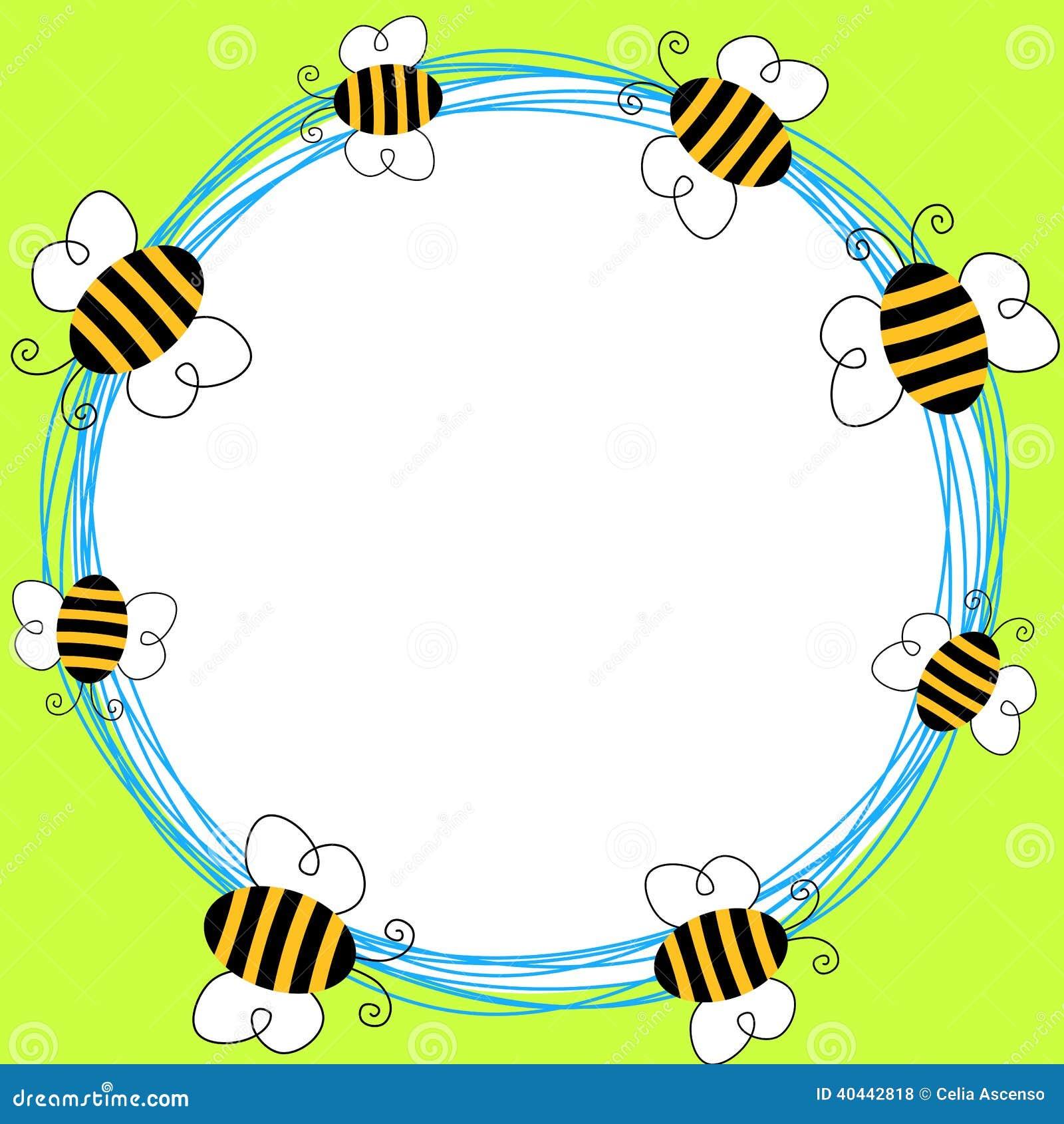 Flying Bees Round Frame Stock Illustration - Image: 40442818