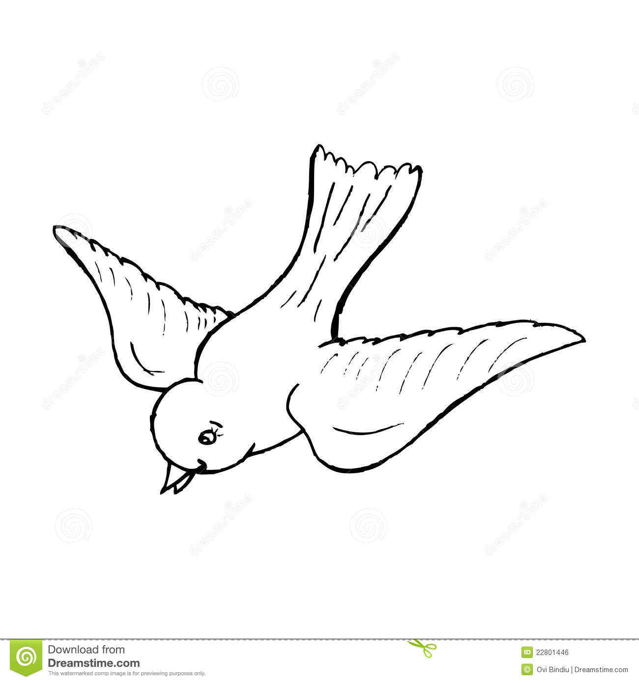 Illustration of a flying bird, black and white version. Useful also ...