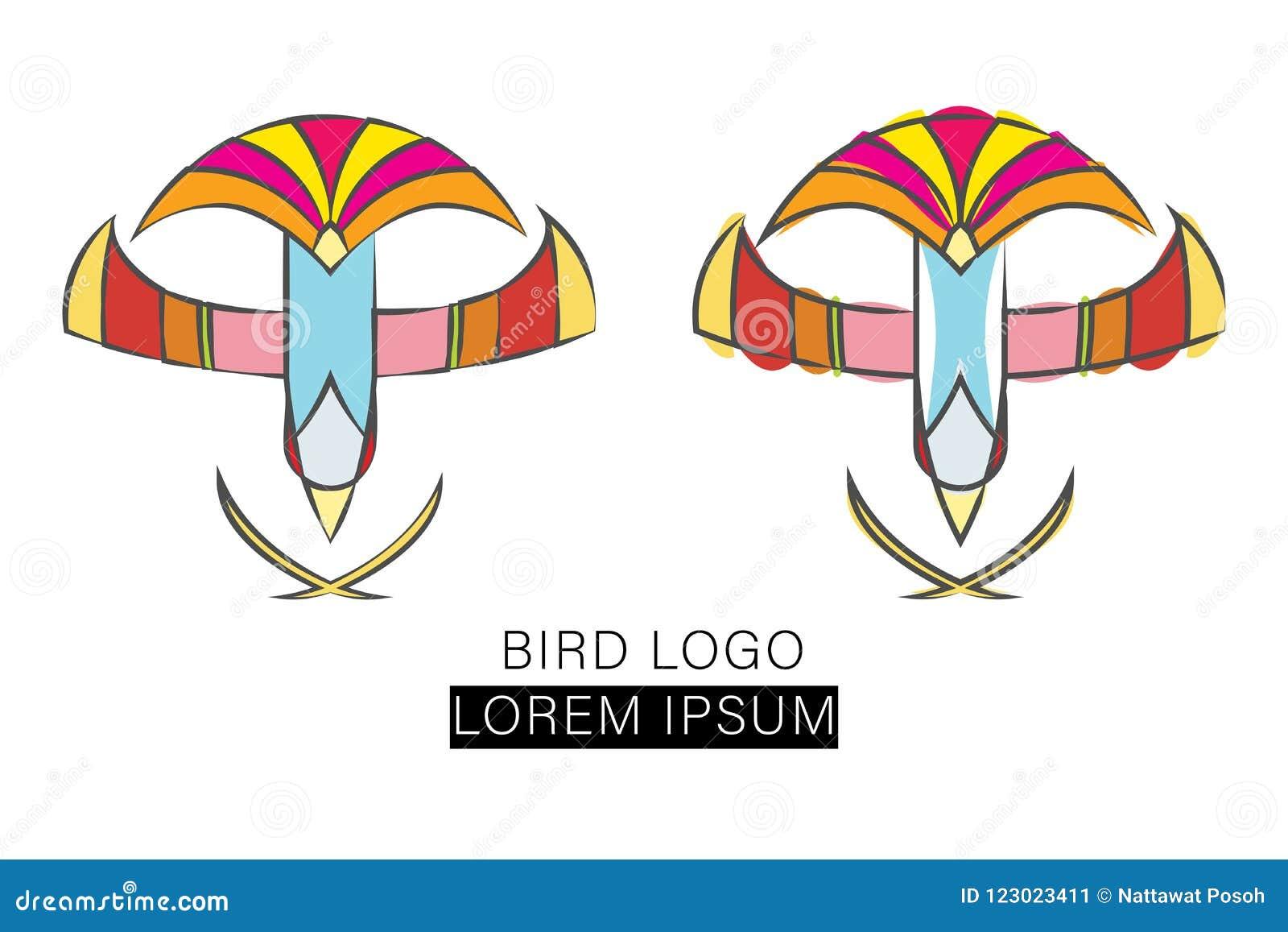 flying bird design logo vector template stock illustration