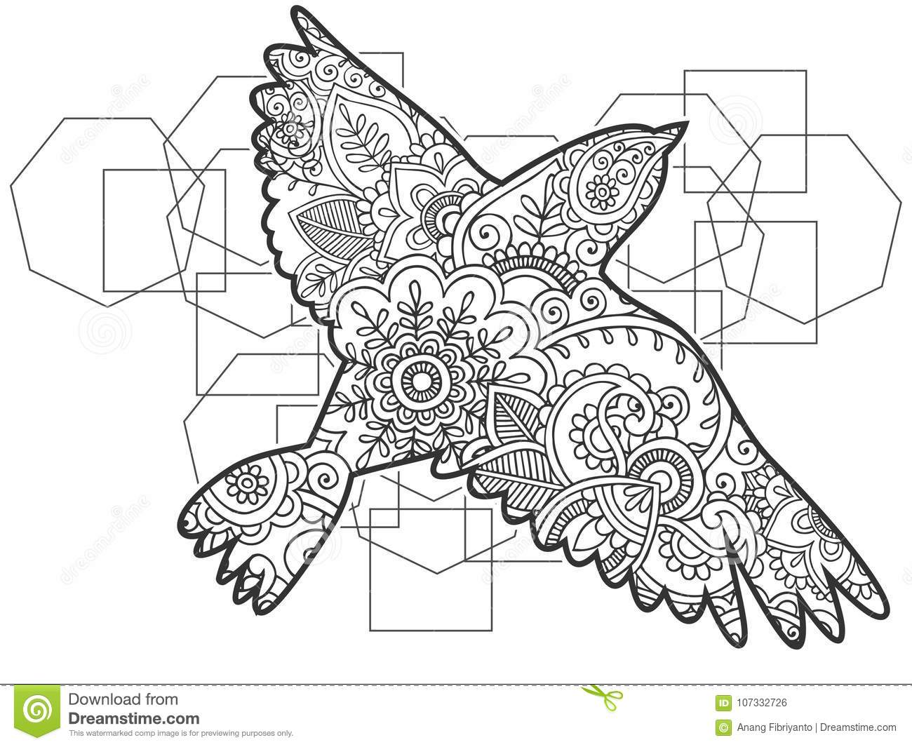 flying bird illustration black white animal hand drawn doodle hand drawn doodle set collection adult anti stress coloring