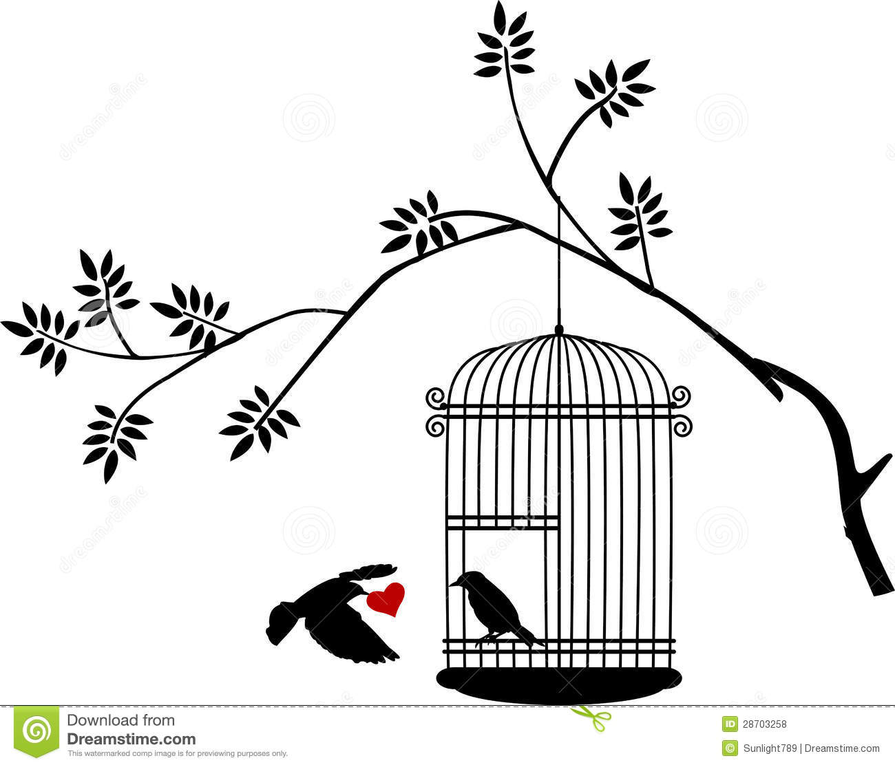 Bird Flying Away From Cage Drawing