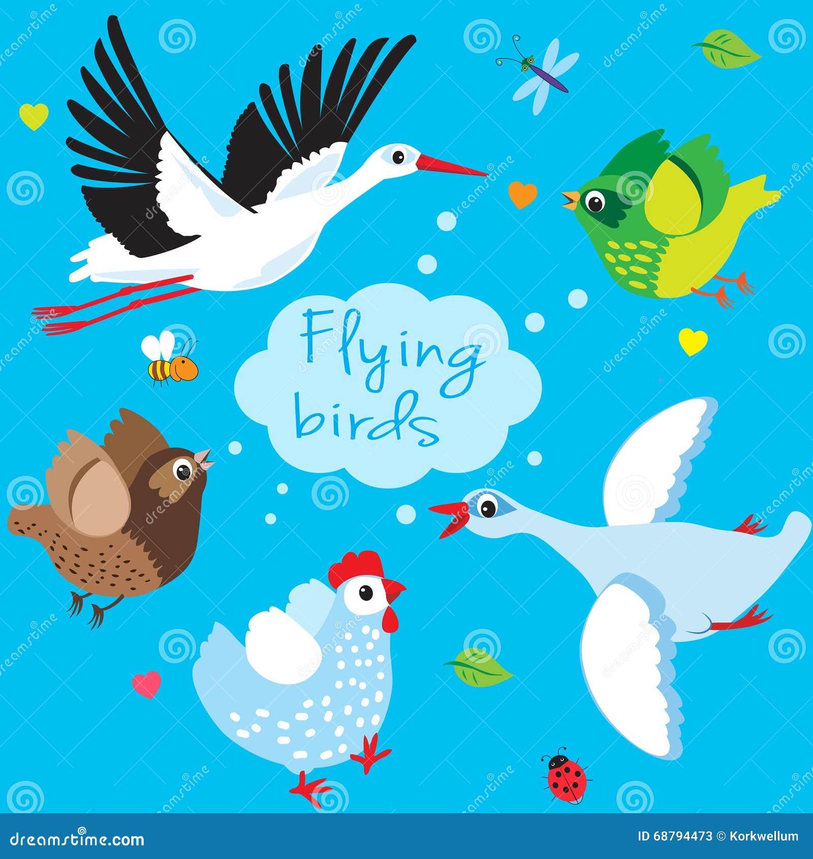 Stock Illustration Flying Birds Cartoon Vector Illustration Sky Stork ...
