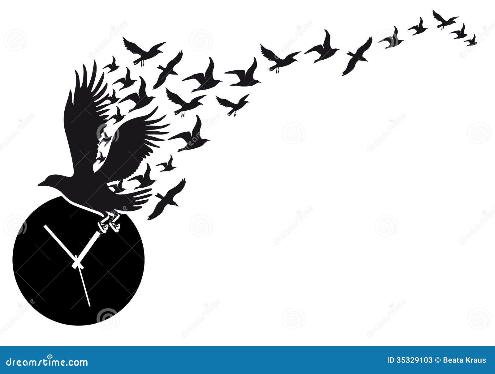 Flying birds with clock vector stock photos image 35329103 royalty free stock photo amipublicfo Gallery