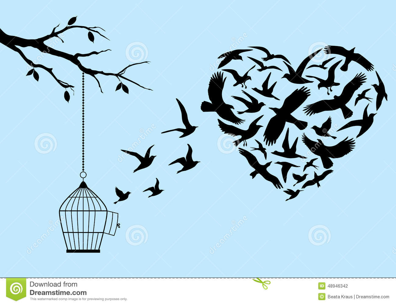 Stock Illustration Flying Birds Heart Vector Shape Birdcage Tree Illus...